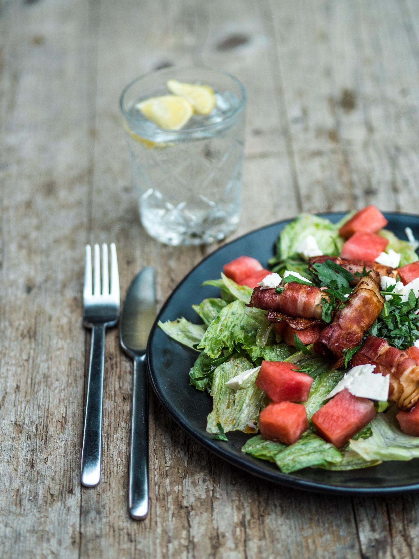 Cook – Salat mit Wassermelonen und Feta im Speckmantel