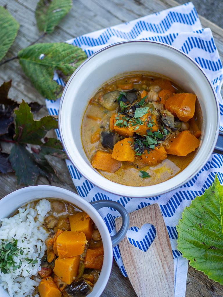 Rezept | einfacher Kürbis Curry Eintopf mit Reis